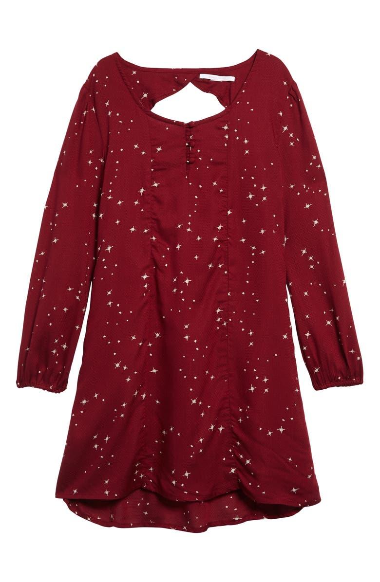 O'NEILL Wynona Long Sleeve Fit & Flare Dress, Main, color, RUBY