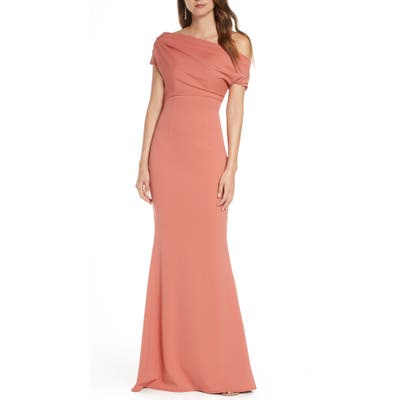Katie May Hannah Off The Shoulder Crepe Trumpet Gown, Pink