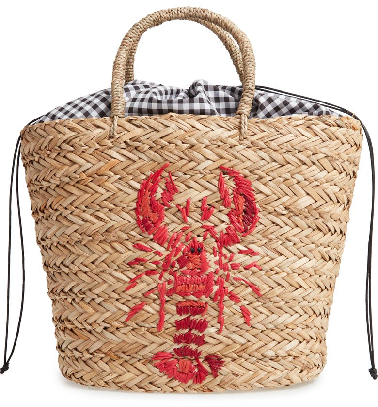 NORDSTROM Lobster Woven Tote, Main, color, NATURAL