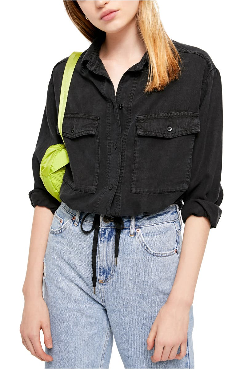 BDG Urban Outfitters Crop Utility Shirt, Main, color, BLACK