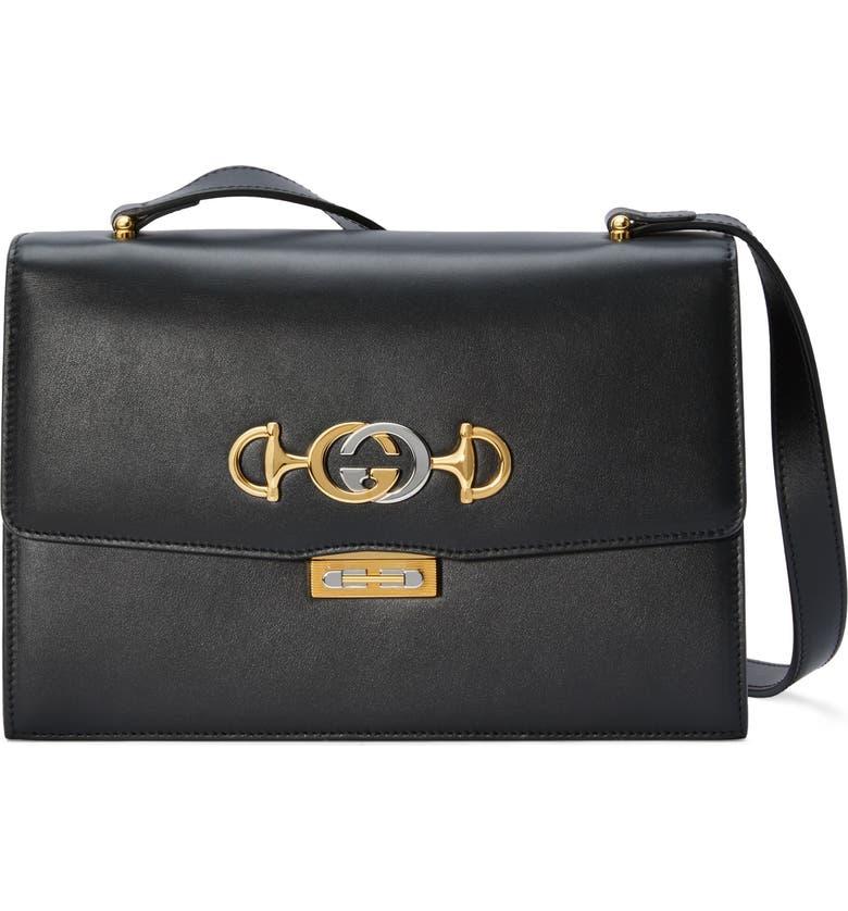GUCCI Small Zumi Leather Shoulder Bag, Main, color, BLACK