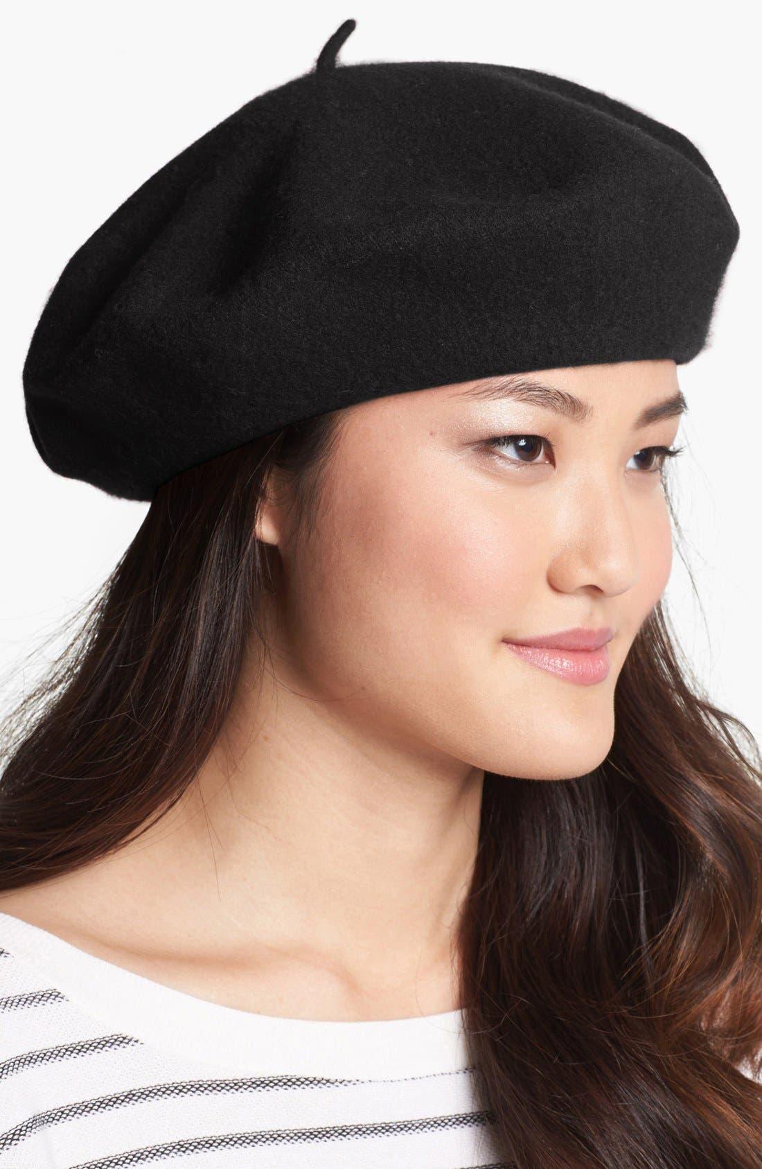 ,                             'Basic' Wool Beret,                             Main thumbnail 1, color,                             001
