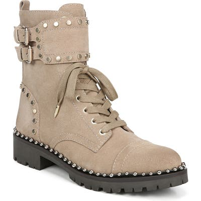 Sam Edelman Jennifer Studded Combat Boot- Beige