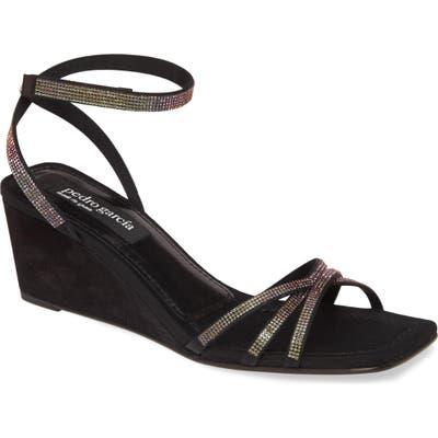 Pedro Garcia Inna Crystal Ankle Strap Wedge Sandal, Black