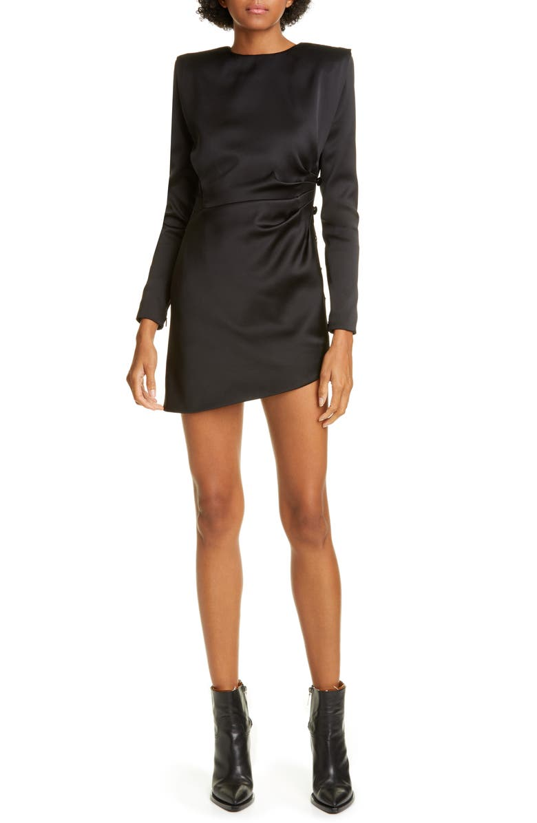 SAINT LAURENT Asymmetrical Long Sleeve Silk Satin Minidress, Main, color, NOIR