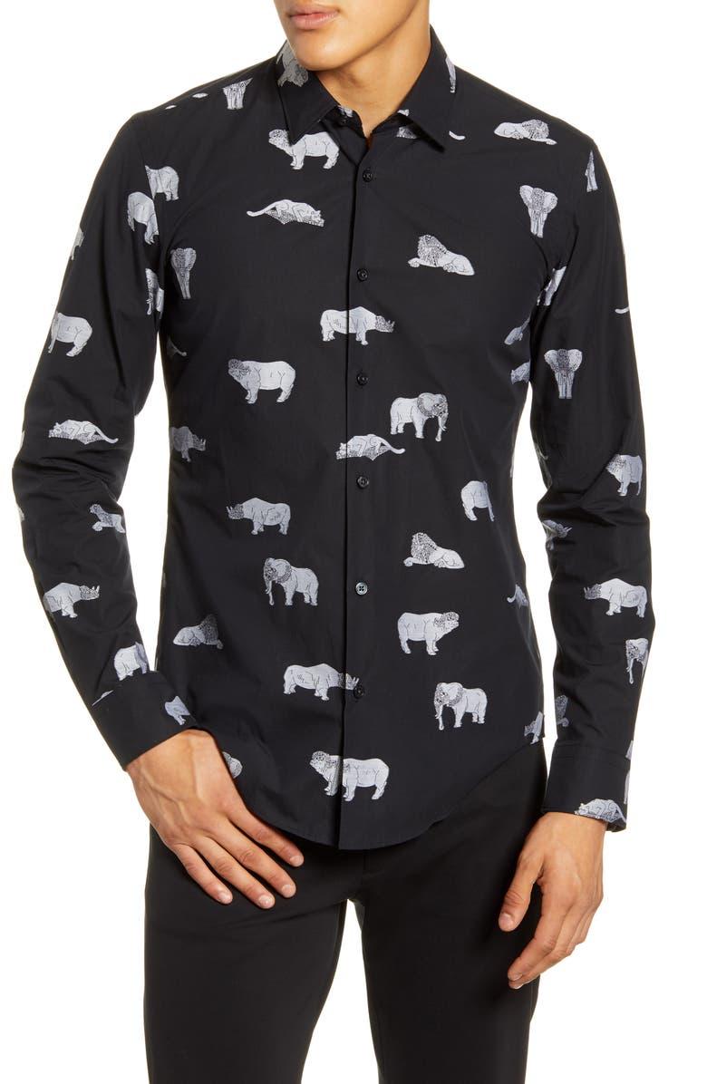 BOSS Ronni Slim Fit Animal Print Button-Up Shirt, Main, color, BLACK