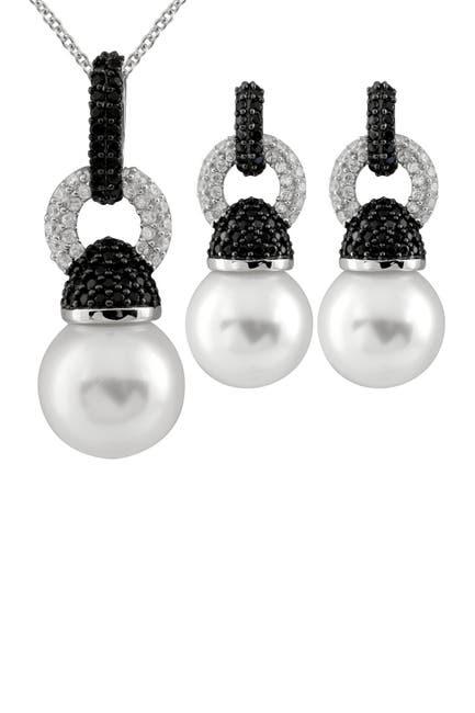 Image of Splendid Pearls Two-Tone CZ Cluster12-12.5mm Shell/Ocean Pearl Pendant Necklace & Drop Earrings Set