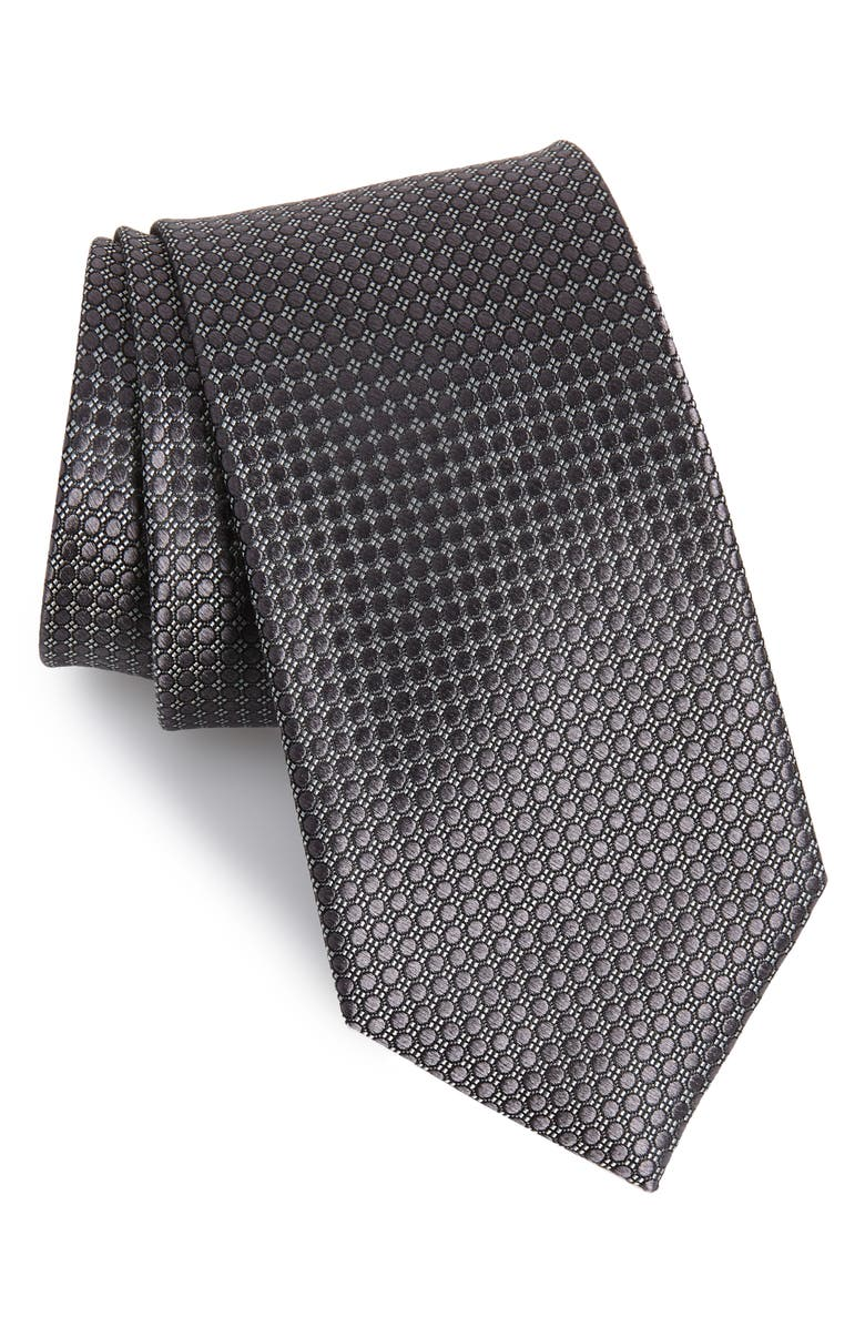NORDSTROM MEN'S SHOP Alana Geometric Silk Tie, Main, color, BLACK