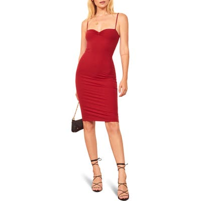 Reformation Mena Ribbed Body-Con Dress, Red