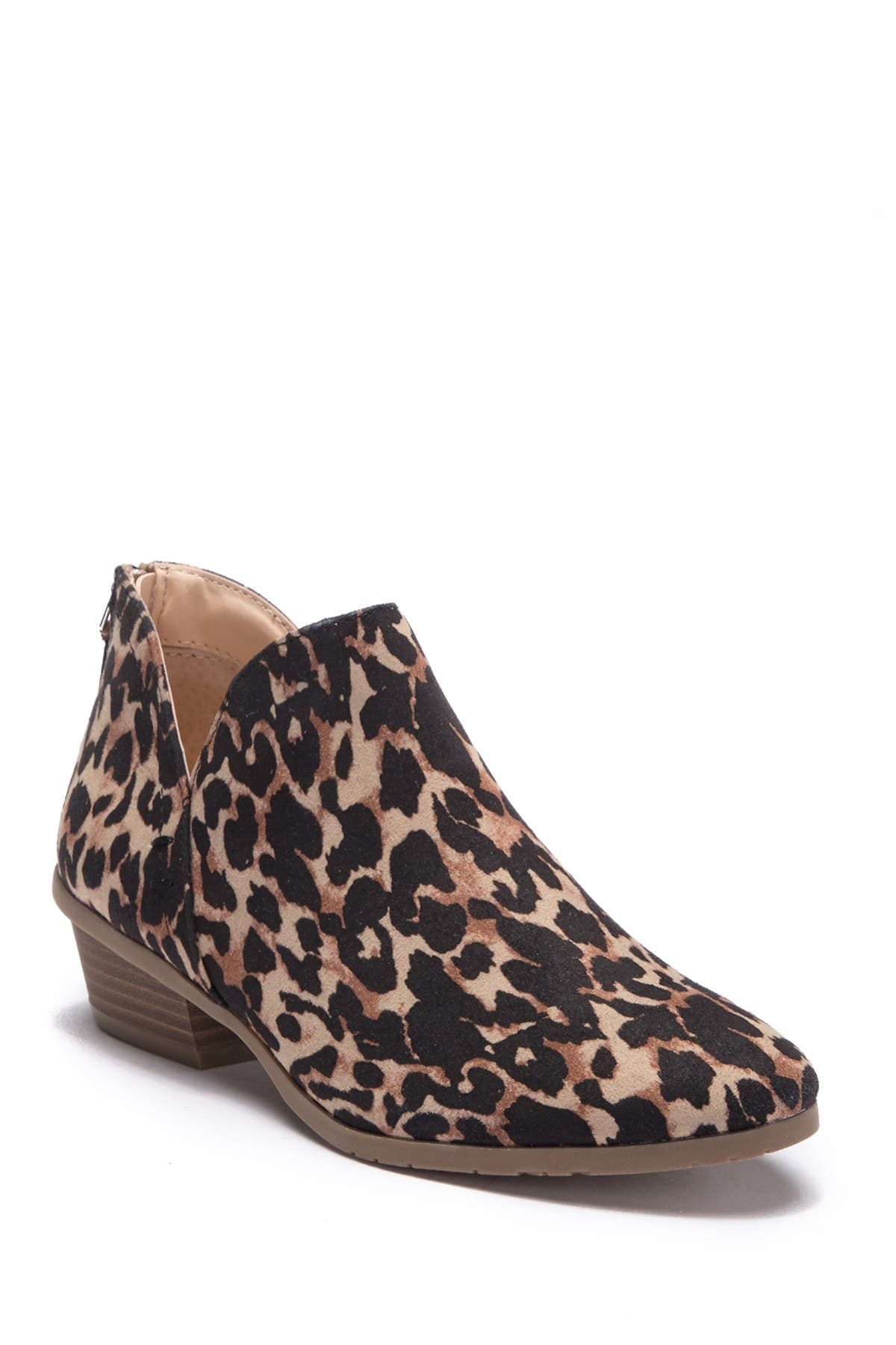 Side Way Leopard Print Ankle Bootie