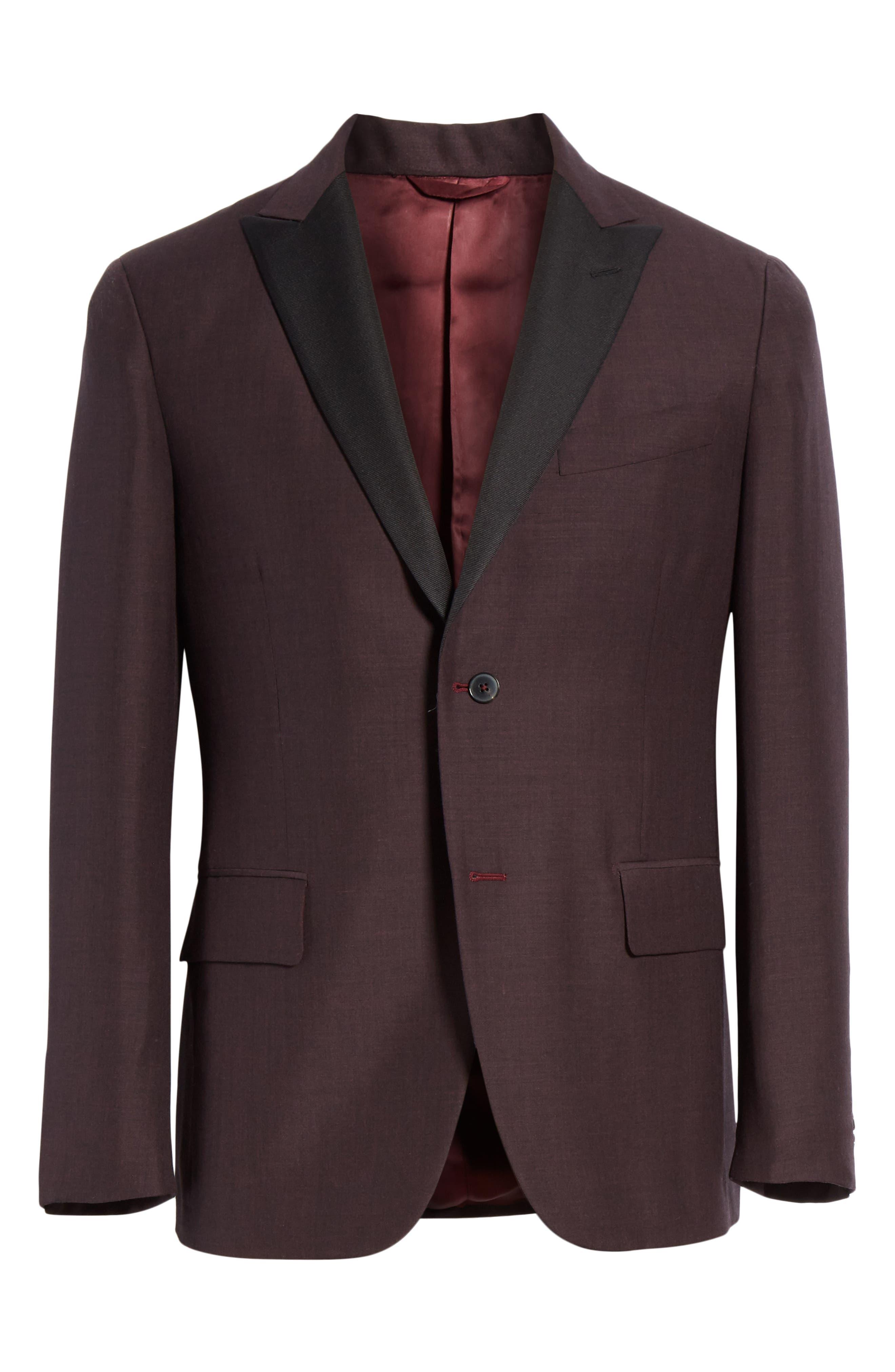 ,                             Balthazar Trim Fit Wool & Mohair Dinner Jacket,                             Alternate thumbnail 6, color,                             BURGUNDY