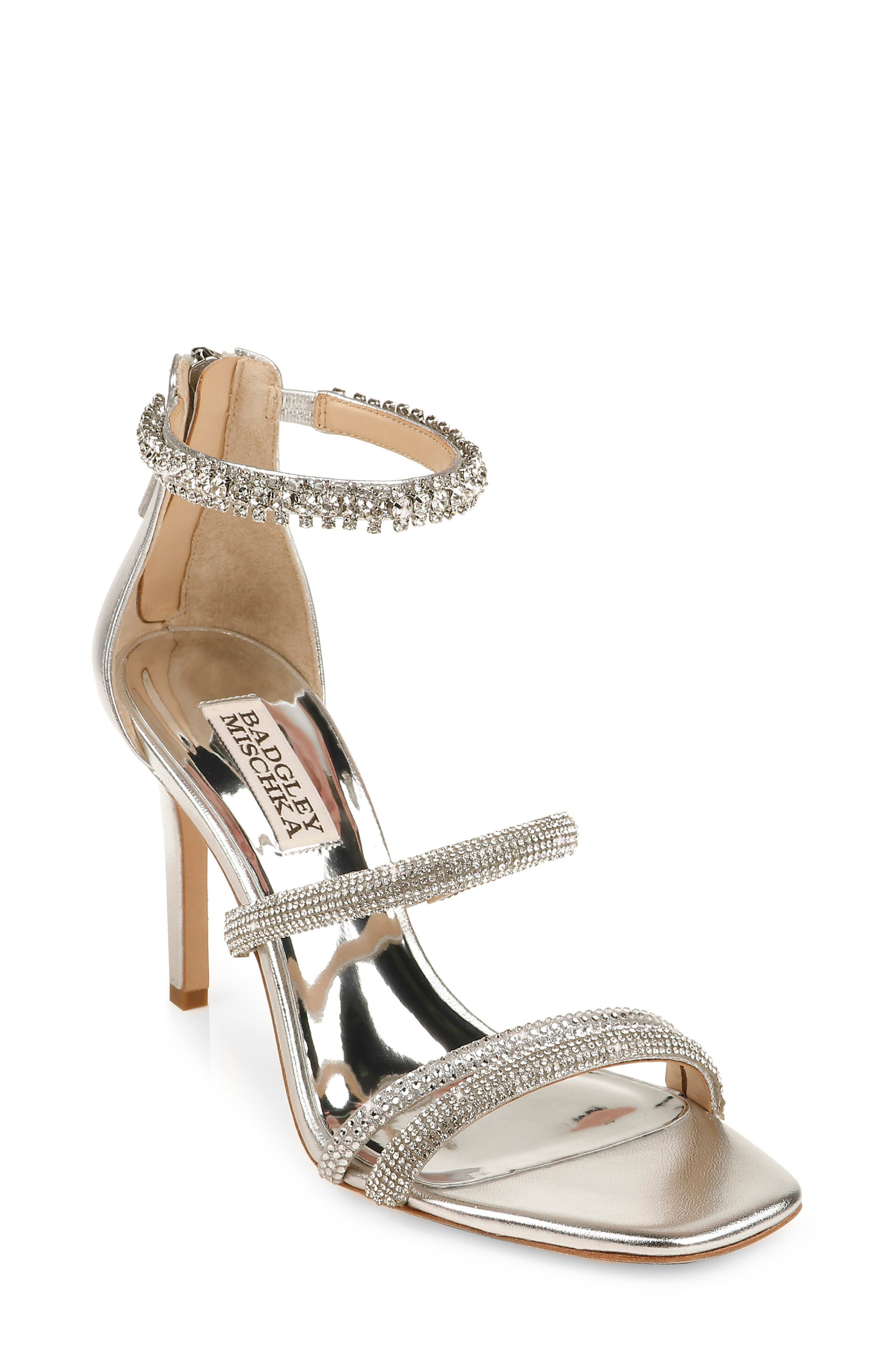 Small crystals dazzle the slim straps of an elegant sandal lifted by a tall tapered heel. Style Name: Badgley Mischka Zulema Embellished Strappy Sandal (Women). Style Number: 6020303. Available in stores.