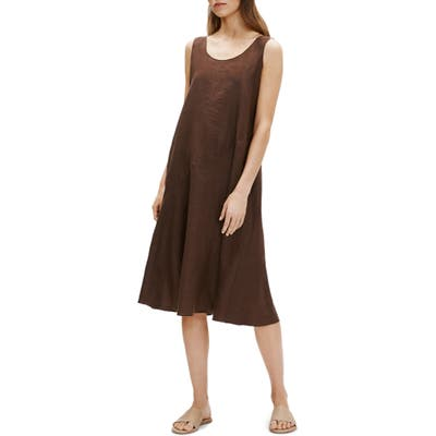Eileen Fisher Sleeveless Linen Dress, Brown