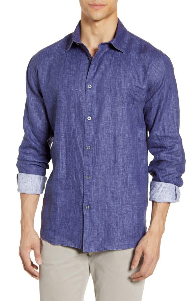 COASTAORO Palm Beach Regular Fit Linen Button-Up Shirt, Main, color, INK