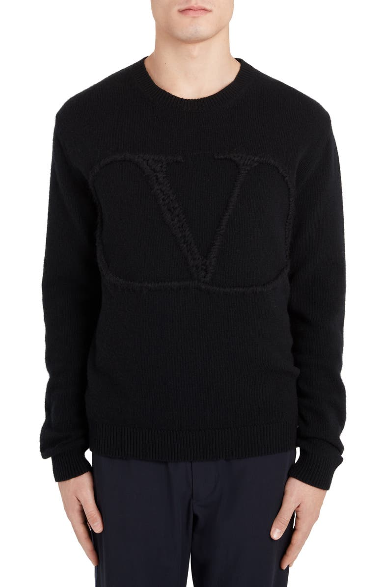 VALENTINO VLTN Logo Crewneck Wool & Cashmere Sweater, Main, color, BLACK