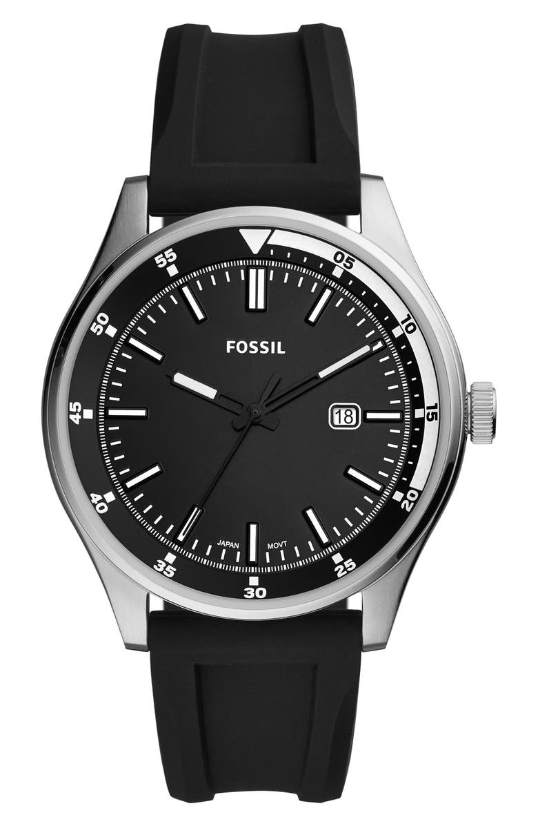 FOSSIL Belmar Silicone Strap Watch, 44mm, Main, color, 001