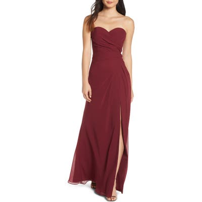 Hayley Paige Occasions Strapless Chiffon Evening Dress
