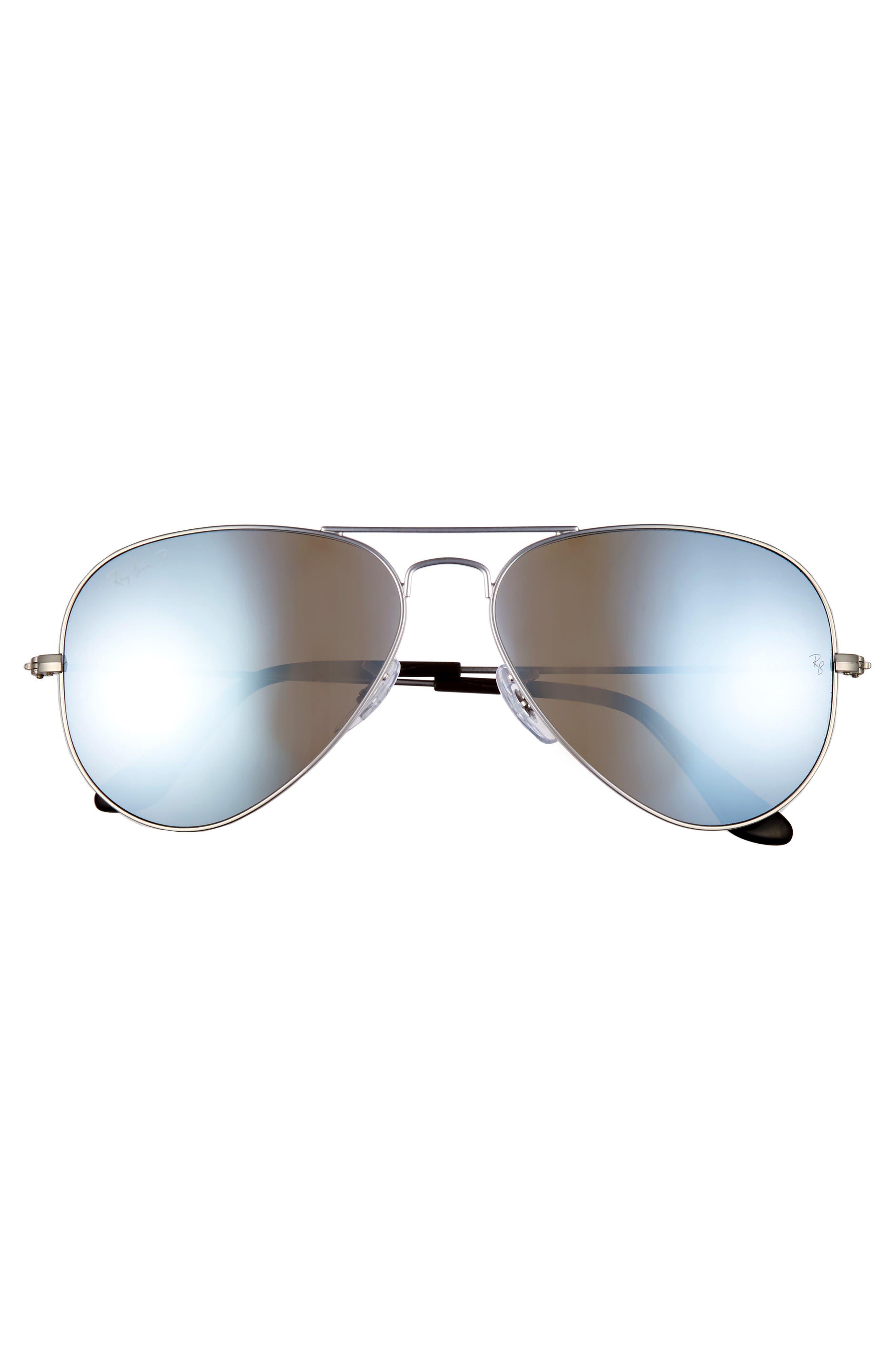 ,                             Standard Icons 58mm Mirrored Polarized Aviator Sunglasses,                             Alternate thumbnail 3, color,                             SILVER/ SILVER MIRROR
