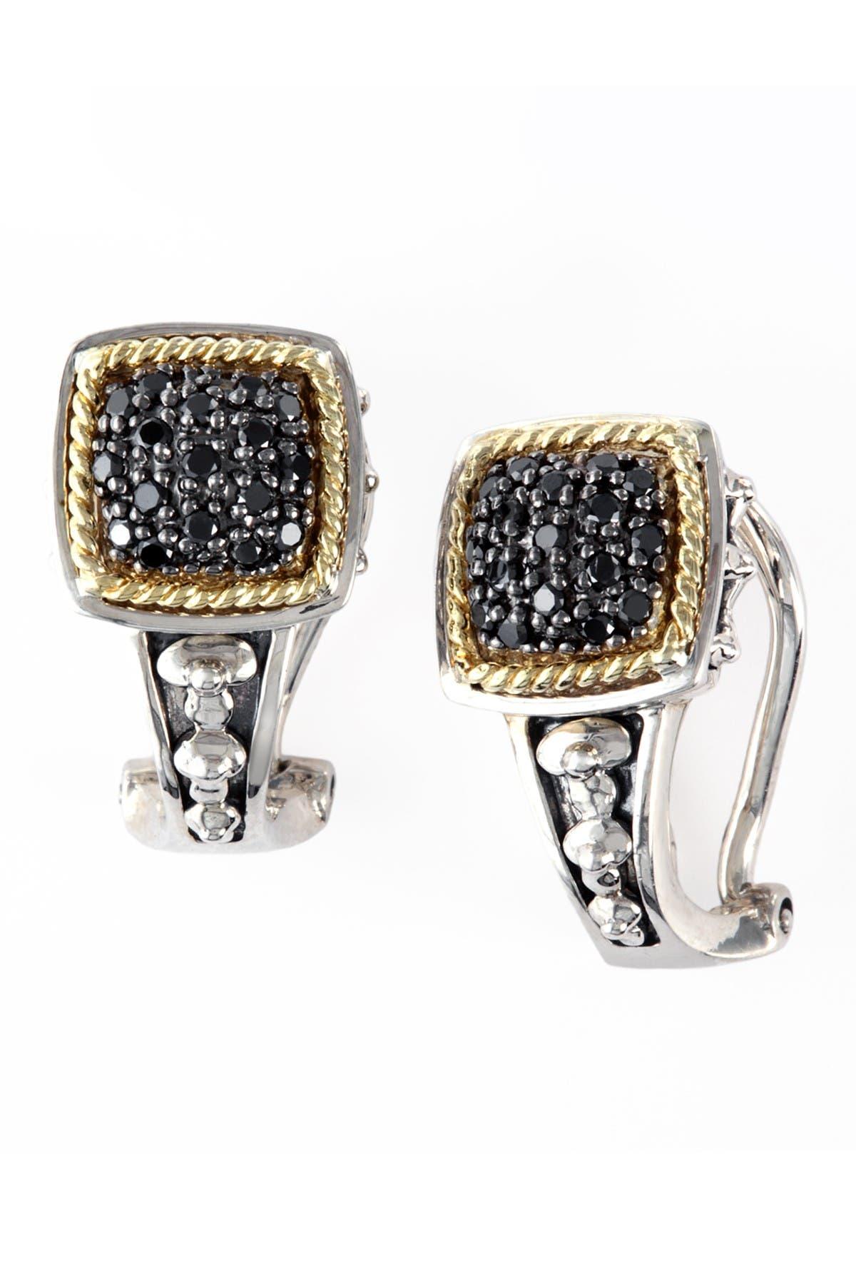 Effy Sterling Silver 18k Yellow Gold Pave Black Diamond Earrings 0 26 Ctw Nordstrom Rack