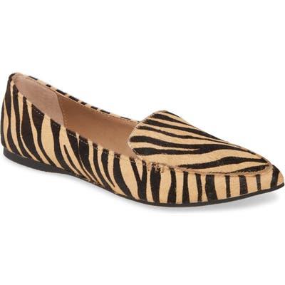 Steve Madden Feather-L Genuine Calf Hair Loafer Flat, Orange