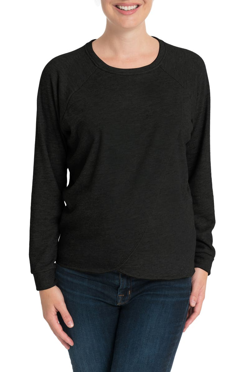 BUN MATERNITY Tulip Front Maternity/Nursing Sweatshirt, Main, color, BLACK