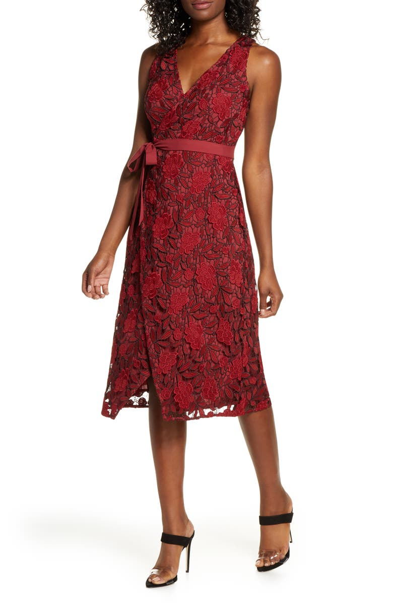 ALI & JAY The London Lace Wrap Midi Dress, Main, color, BERRY
