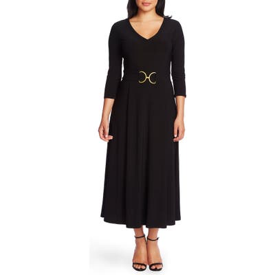 Chaus Belted Tea Length Dress, Black