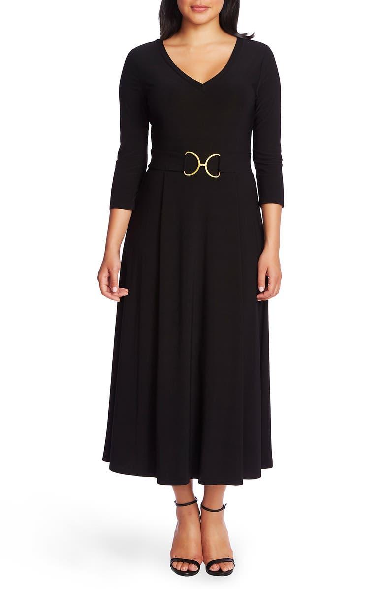 CHAUS Belted Tea Length Dress, Main, color, RICH BLACK