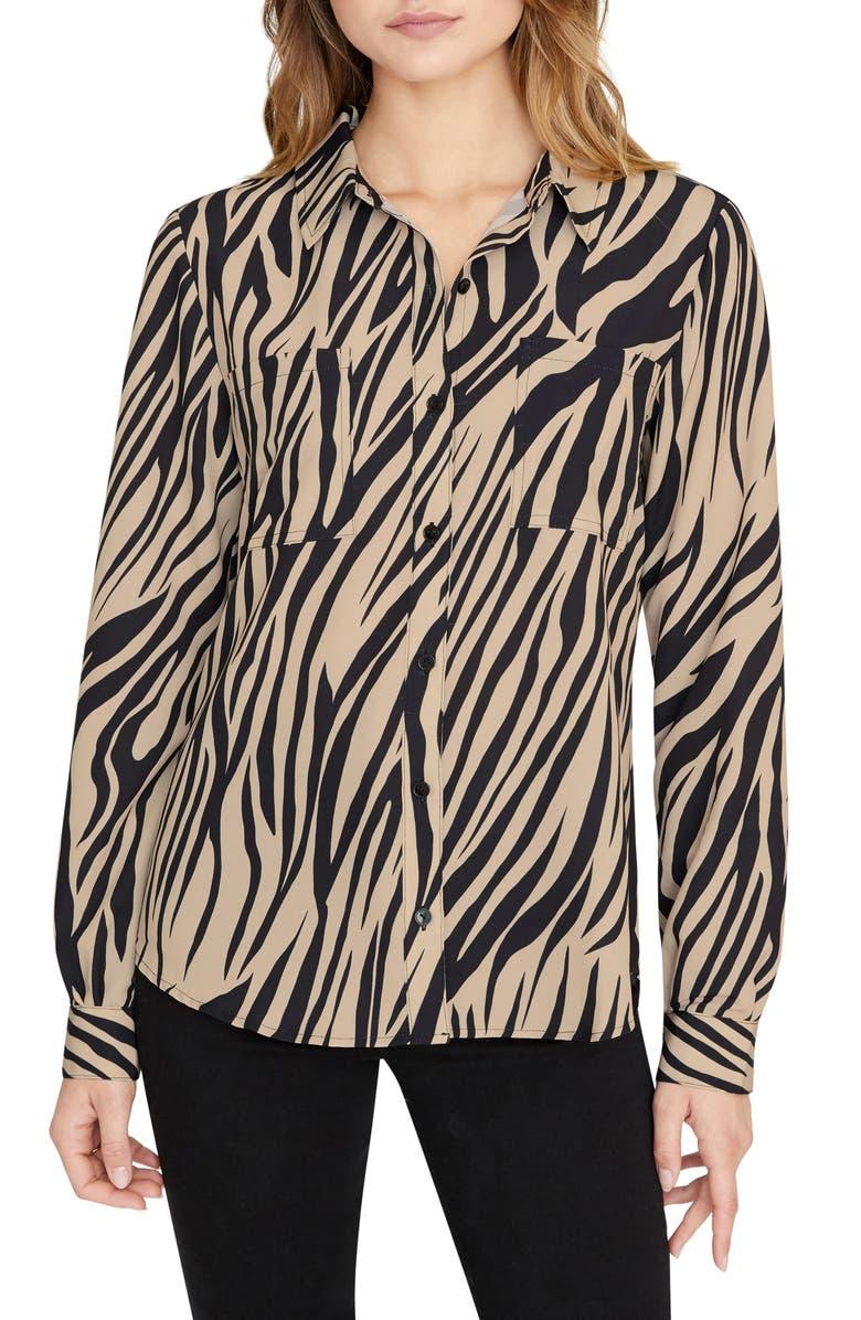 SANCTUARY Monday to Sunday Animal Print Button-Up Shirt, Main, color, ZEBRA