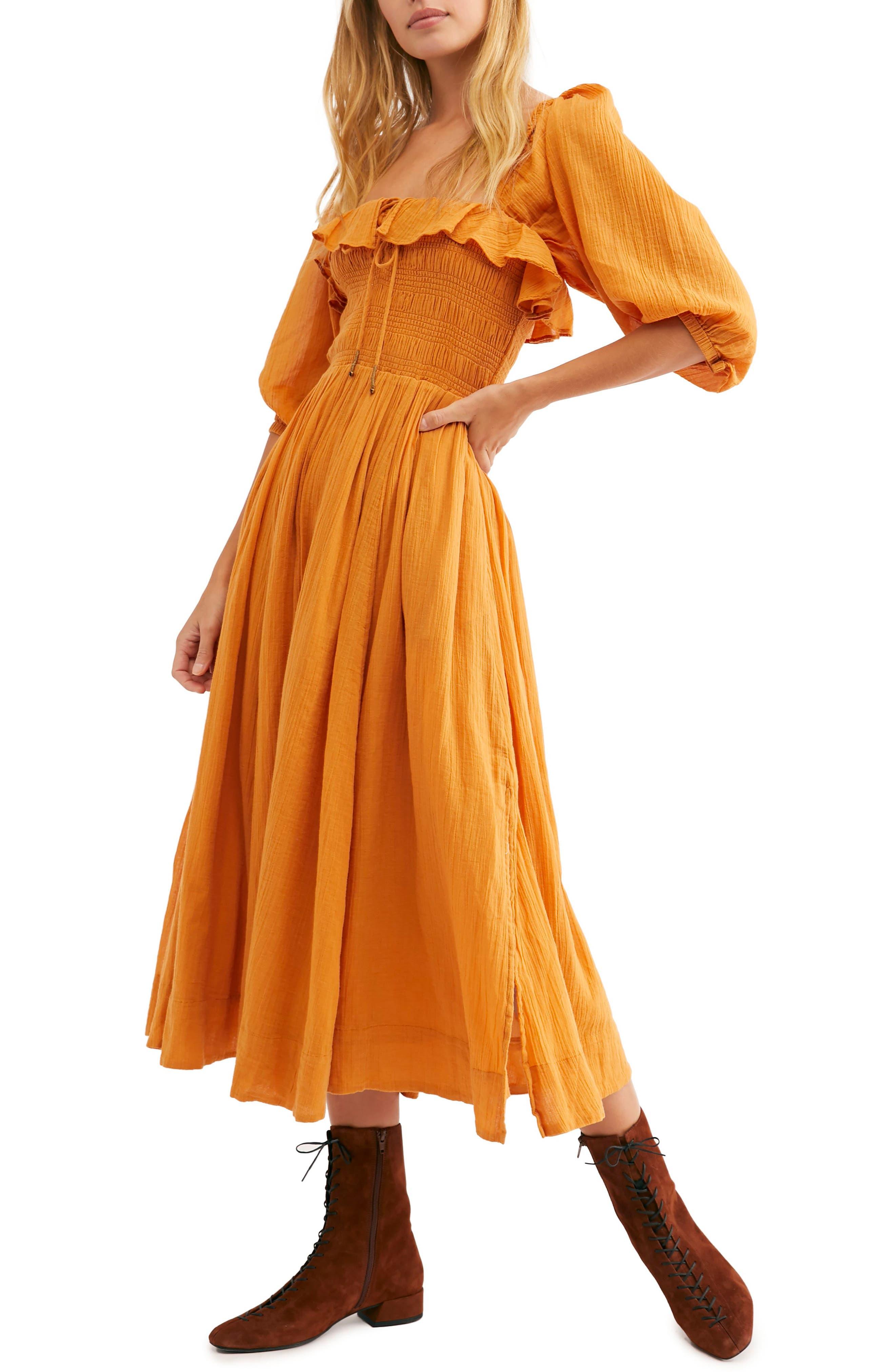 Endless Summer By Free People Ruffle Maxi Dress, Orange
