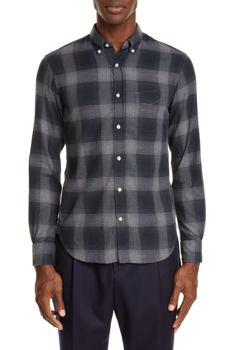 OFFICINE GÉNÉRALE Shadow Plaid Flannel Button-Down Shirt, Main, color, BLACK/ GREY
