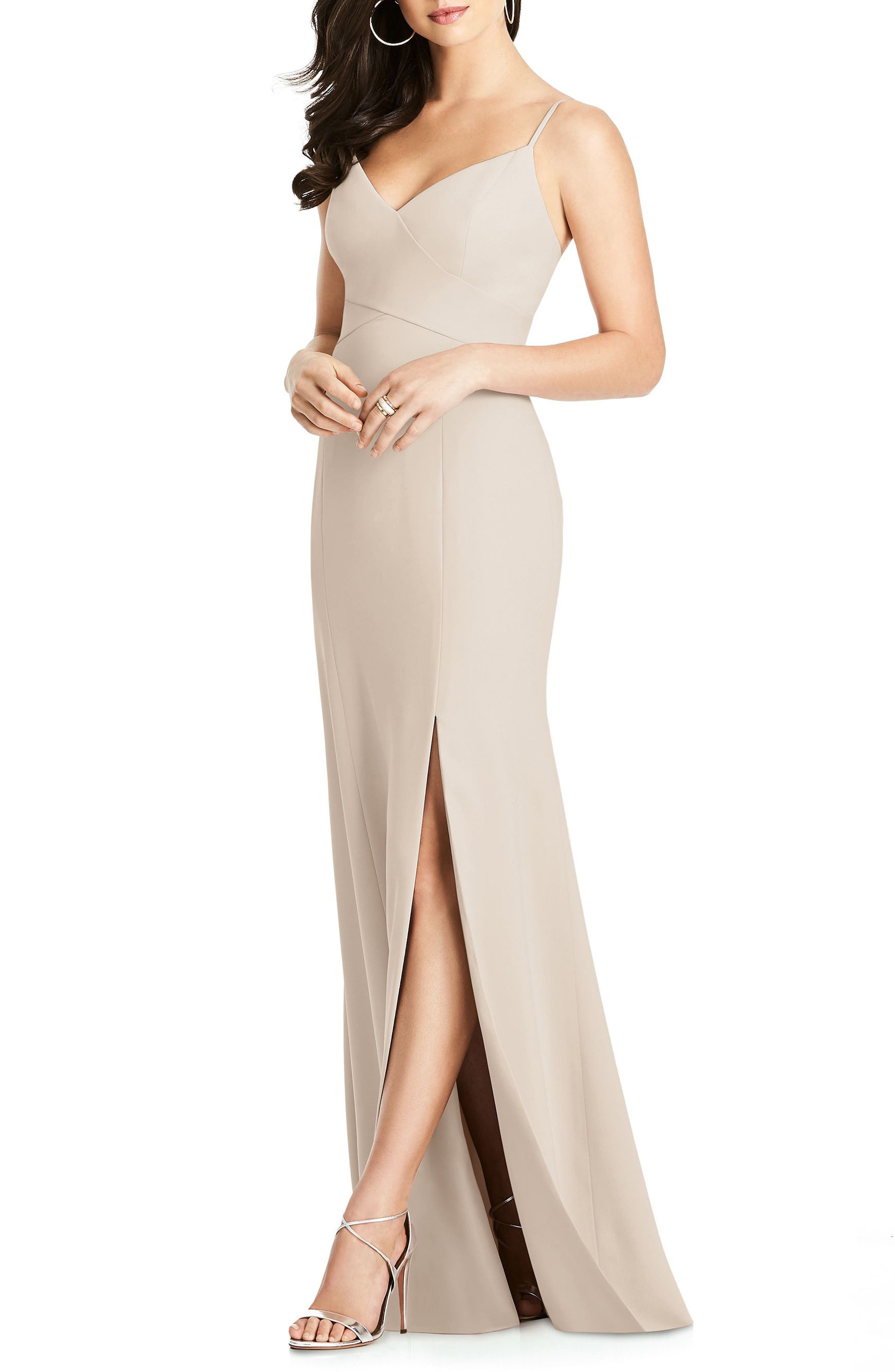 Dessy Collection Crisscross Seam Crepe Gown, Beige