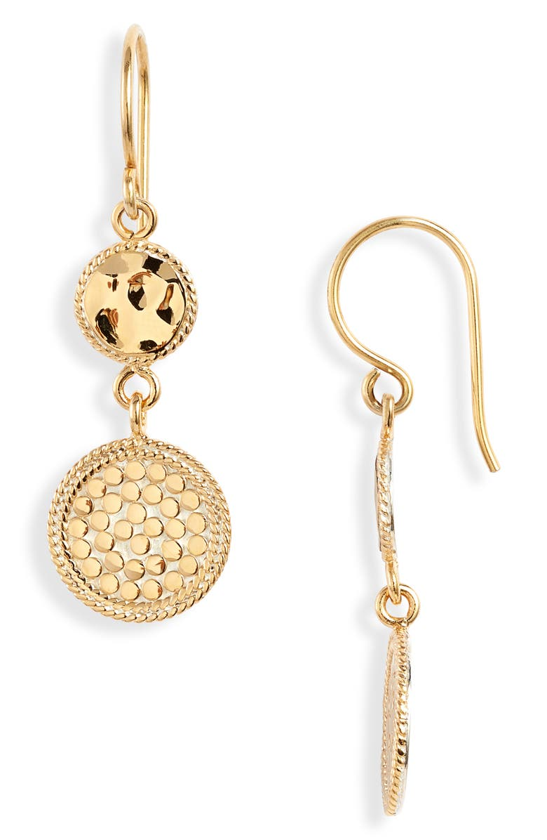 ANNA BECK Hammered Double Drop Earrings, Main, color, GOLD