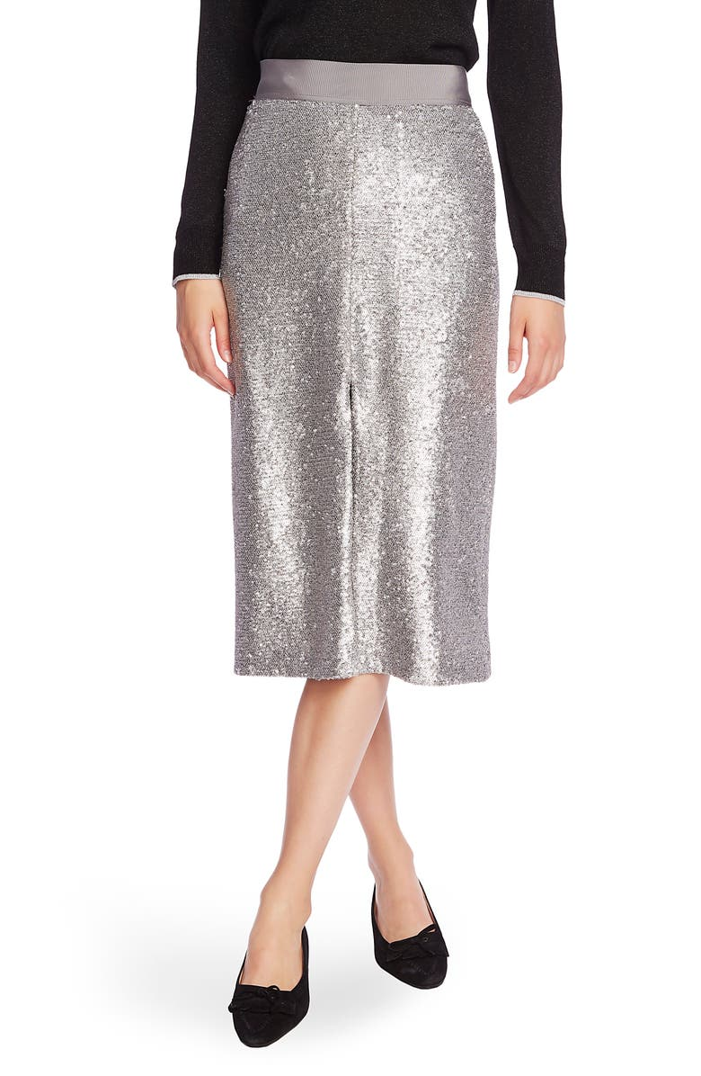 COURT & ROWE Slit Front Sequin Pencil Skirt, Main, color, SILVER HEATHER