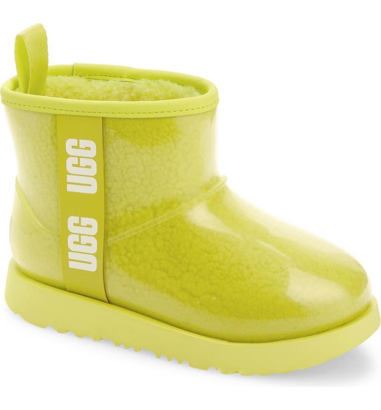 UGG<SUP>®</SUP> Mini Classic II Waterproof Clear Boot, Main, color, SULFUR