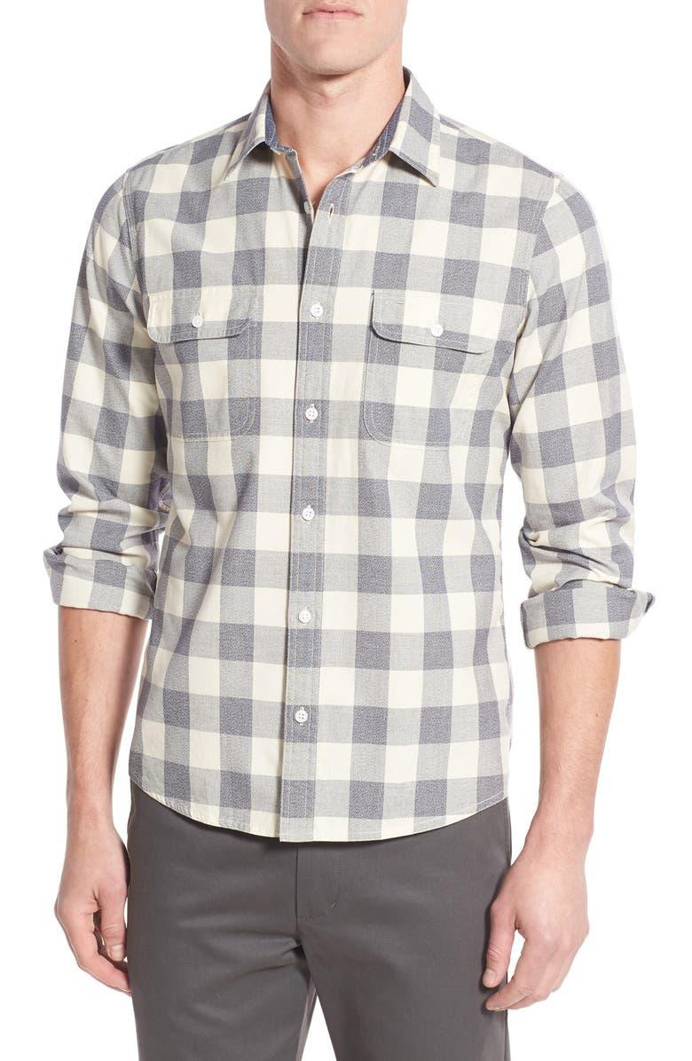 NORDSTROM MEN'S SHOP Trim Fit Buffalo Check Sport Shirt, Main, color, 021