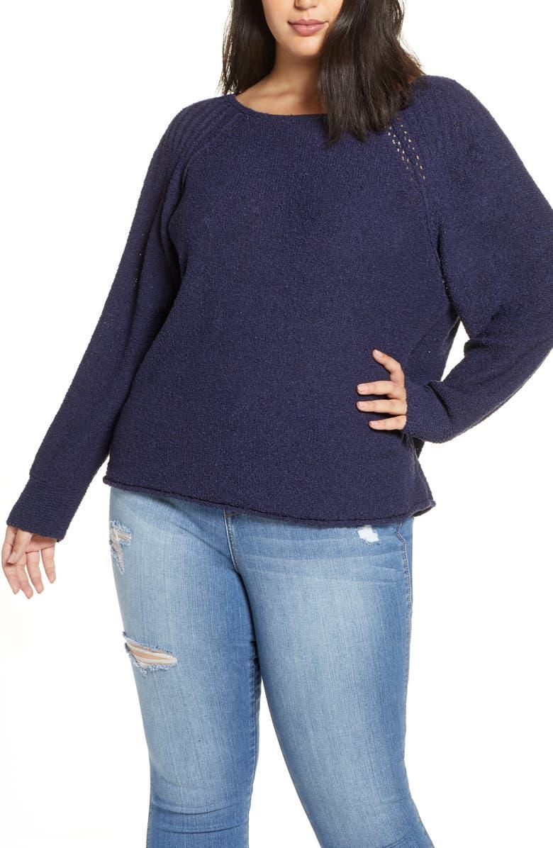 CASLON<SUP>®</SUP> Bouclé Bateau Neck Sweater, Main, color, NAVY PEACOAT