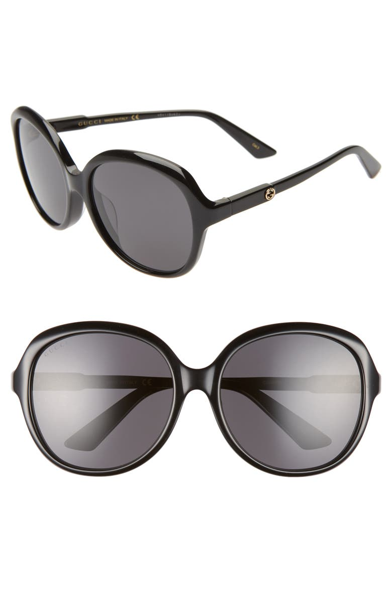 GUCCI 58mm Round Sunglasses, Main, color, BLACK/ SOLID GREY