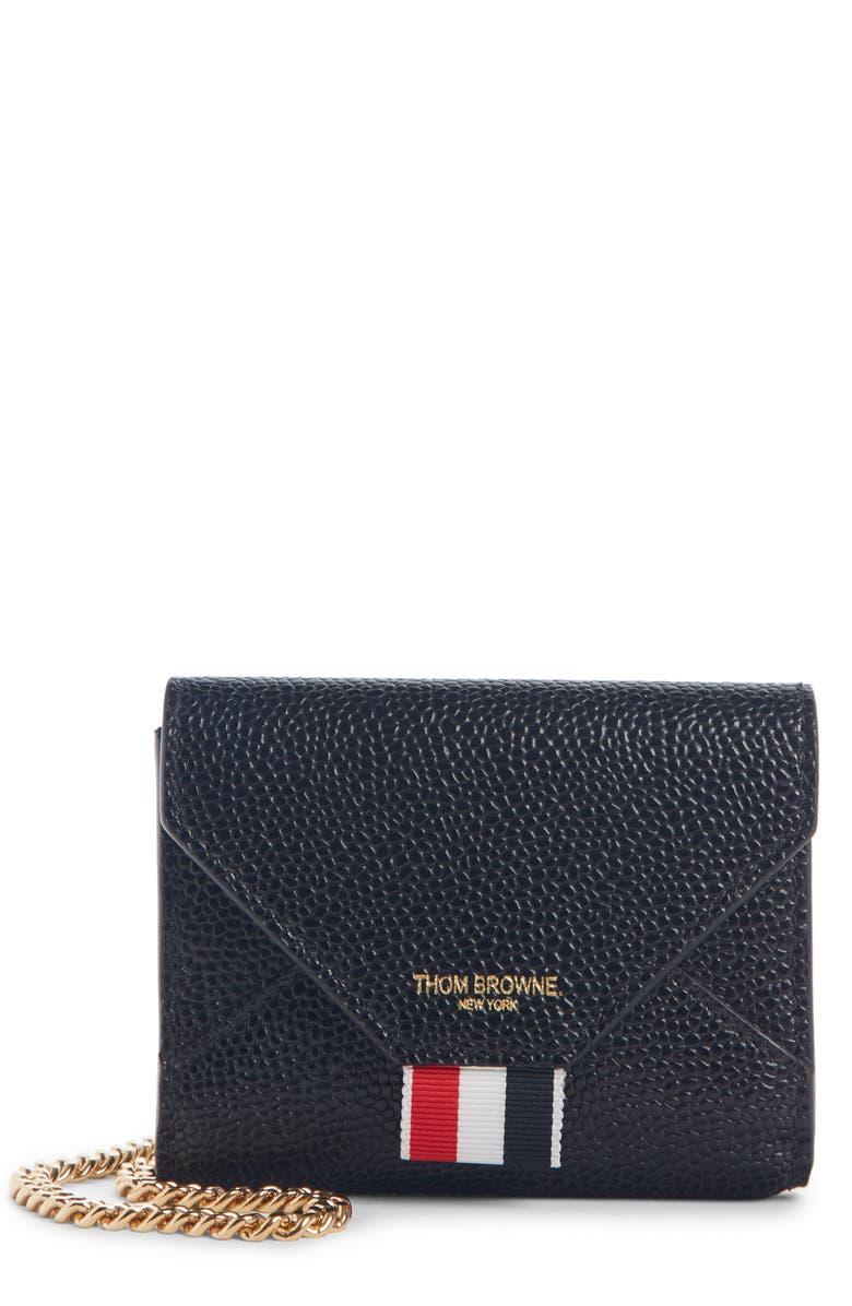 THOM BROWNE Envelope Leather Card Case, Main, color, BLACK