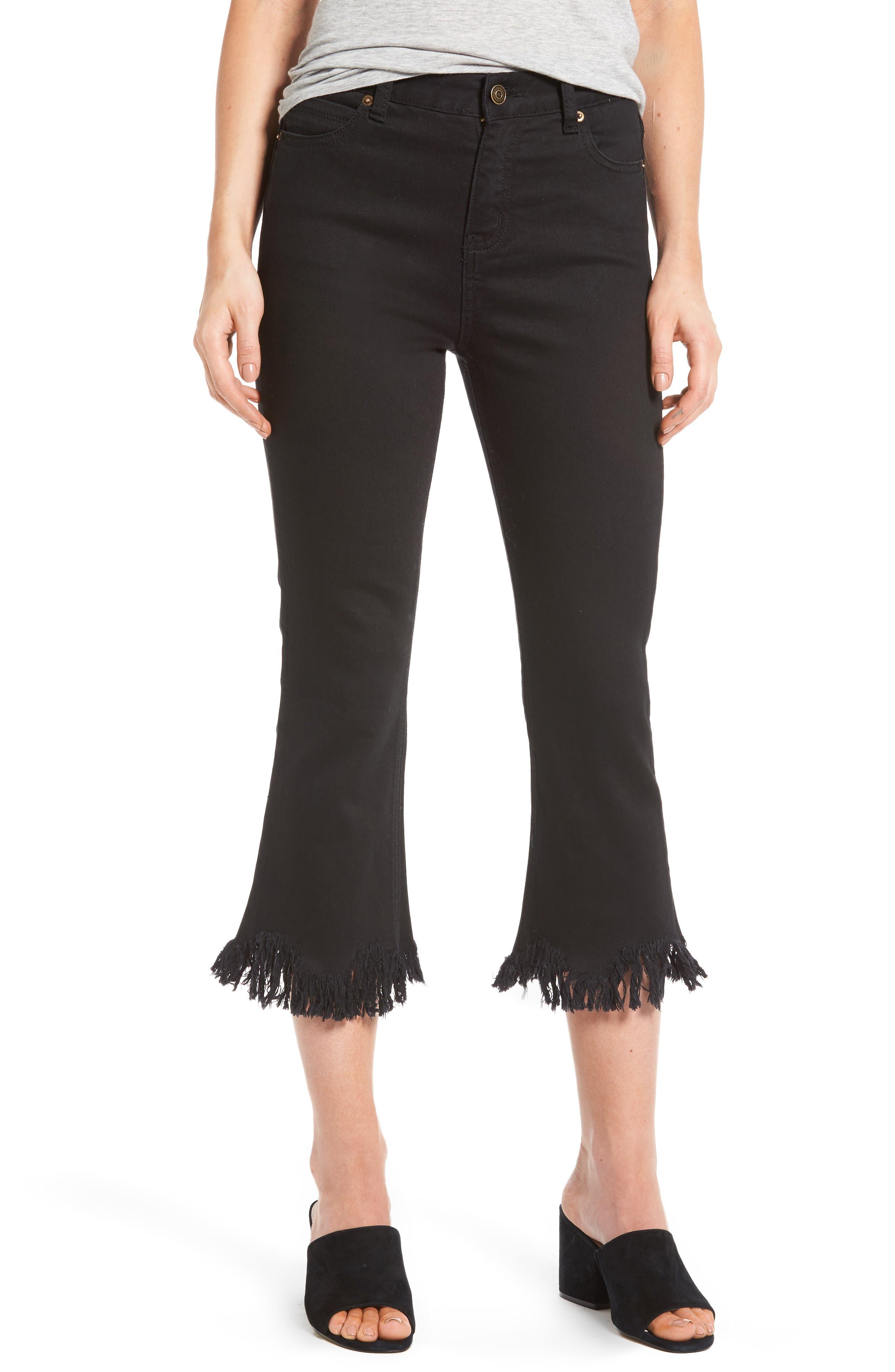 Frayed Hem High Rise Crop Jeans, Main, color, 001