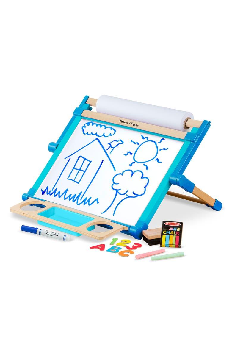 MELISSA & DOUG Tabletop Art Easel, Main, color, BLUE