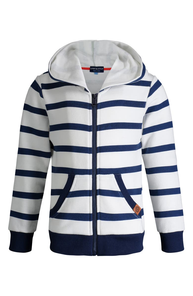 ANDY & EVAN Stripe French Terry Zip Hoodie, Main, color, WHITE