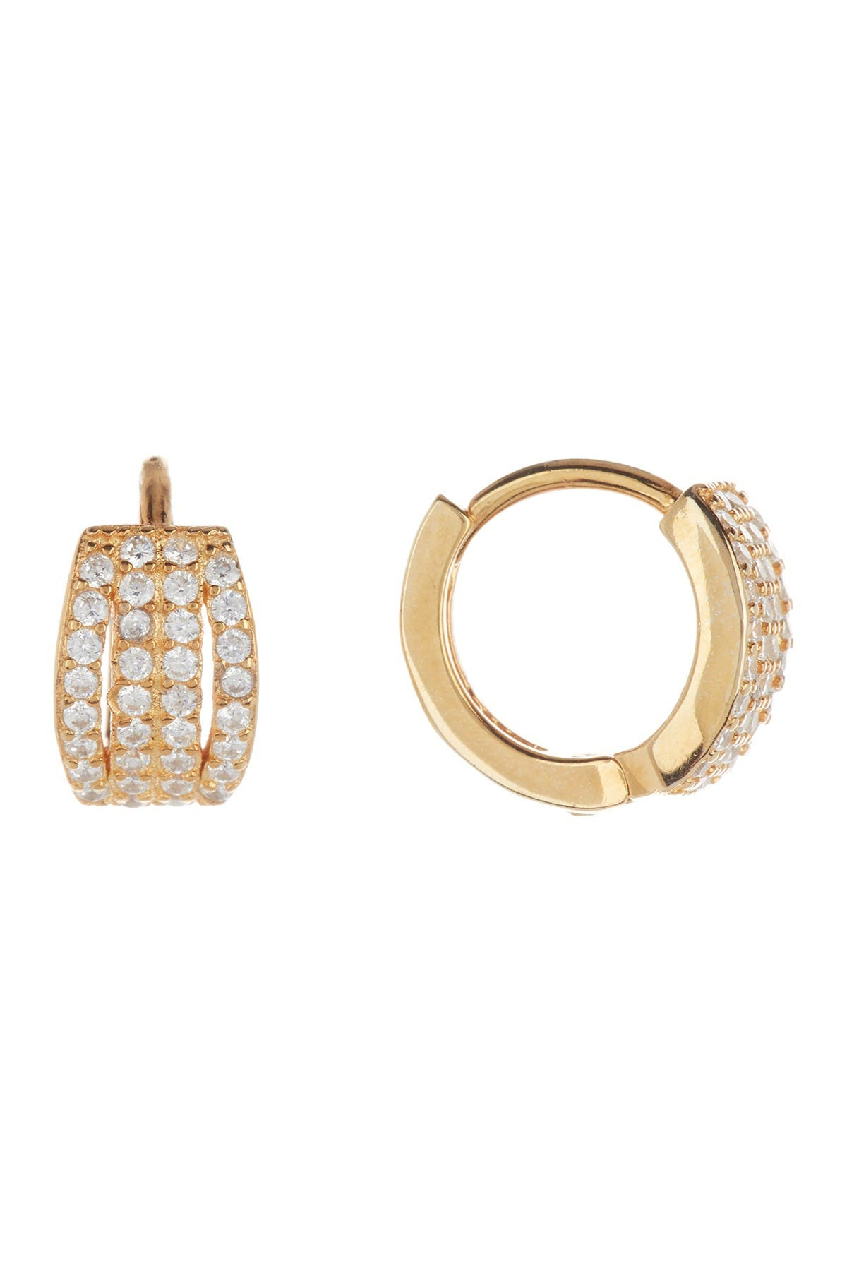 Image of Savvy Cie 18K Yellow Gold Vermeil Micro Pave CZ Huggie Earrings