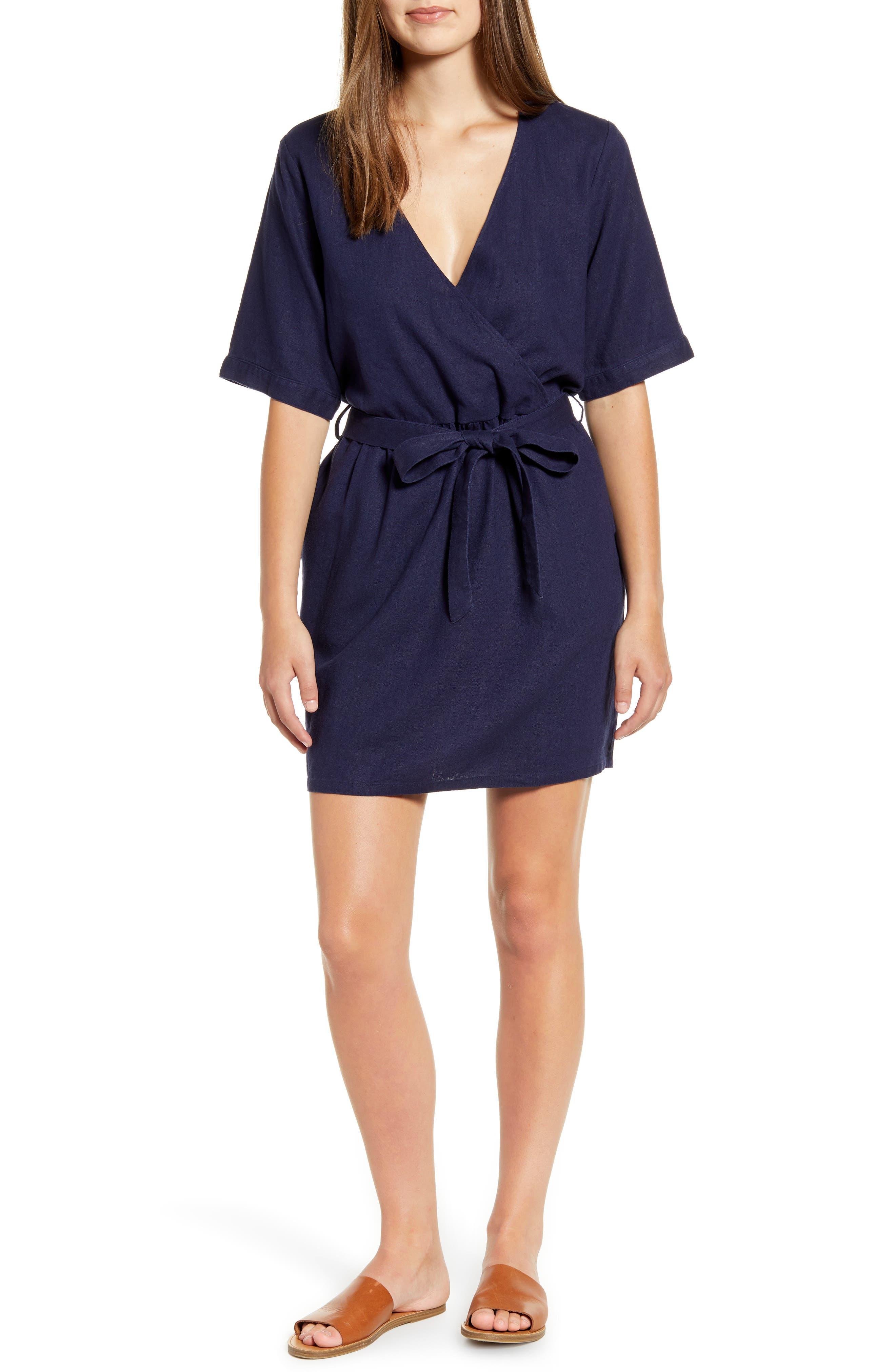 Petite Caslon Linen Blend Faux Wrap Dress, Blue