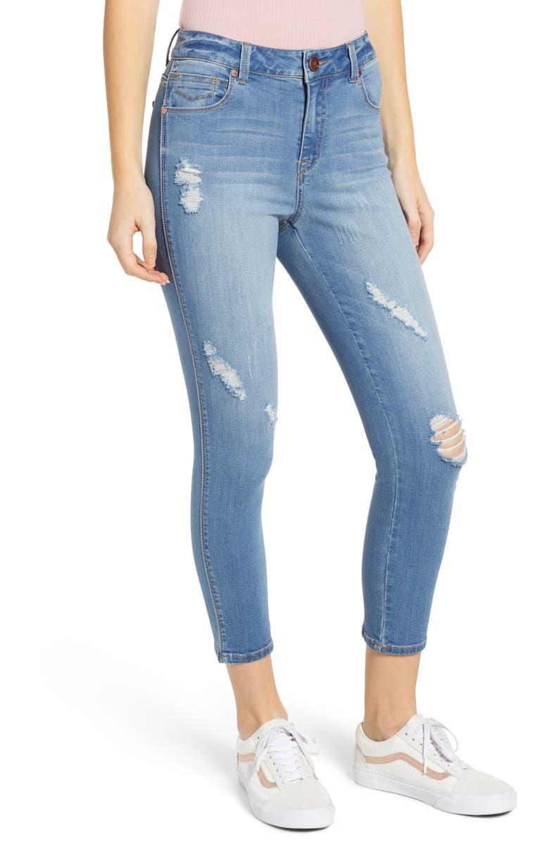 1822 DENIM Distressed High Waist Crop Skinny Jeans, Main, color, 400