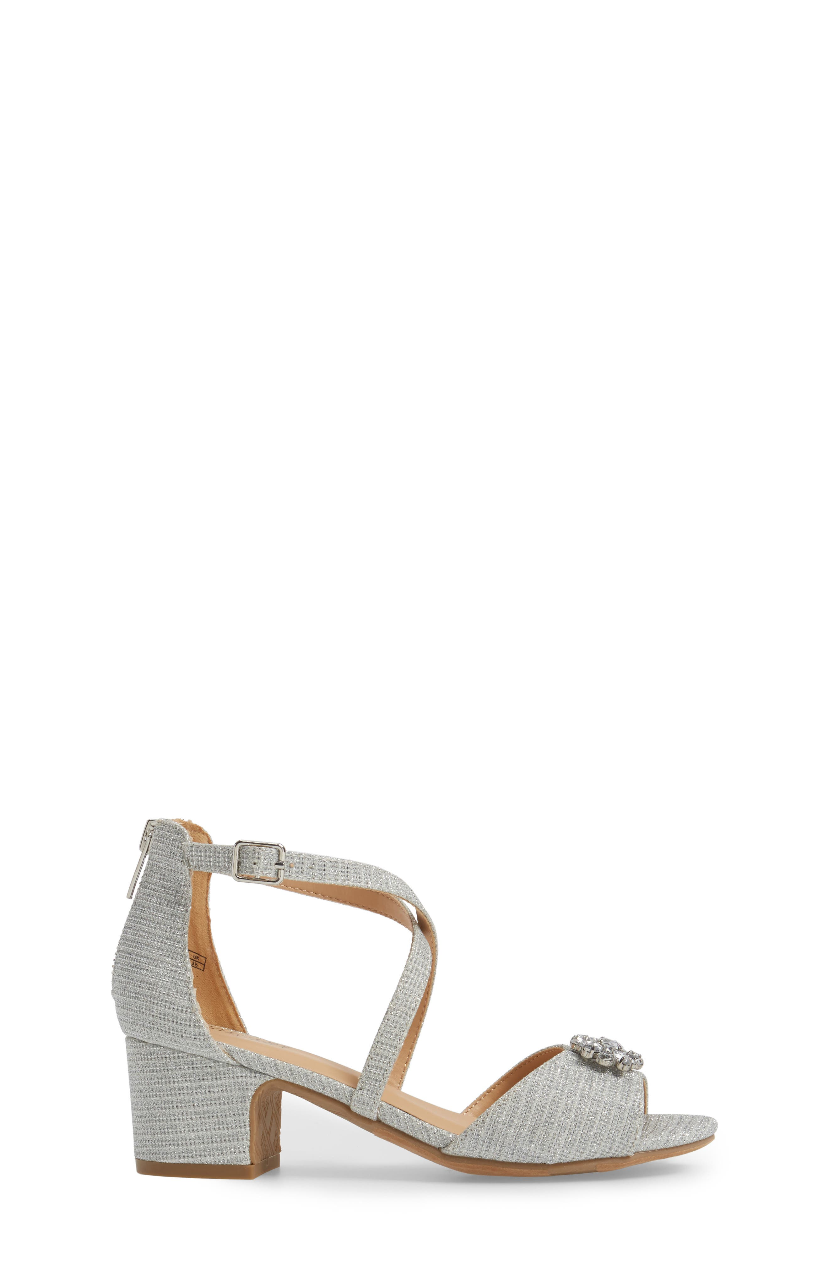 ,                             Badgley Mischka Pernia Gems Sandal,                             Alternate thumbnail 3, color,                             WHITE