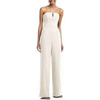 Dessy Collection Strapless Crepe Jumpsuit, Ivory