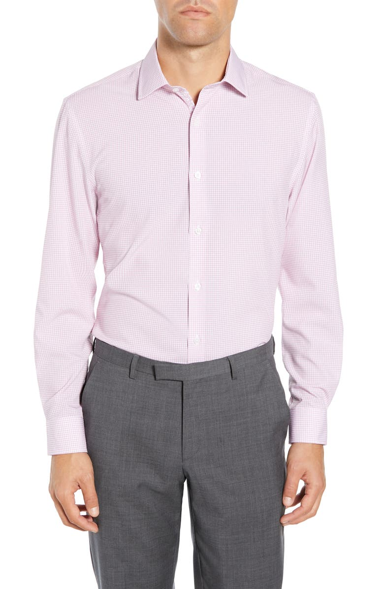 W.R.K Slim Fit Performance Stretch Check Dress Shirt, Main, color, PINK