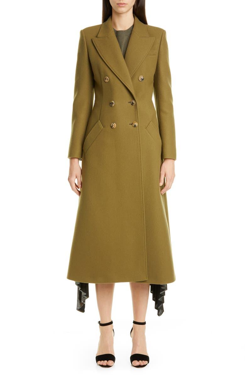 ALTUZARRA Double-Breasted Three-Quarter Wool Blend Coat, Main, color, CAPER