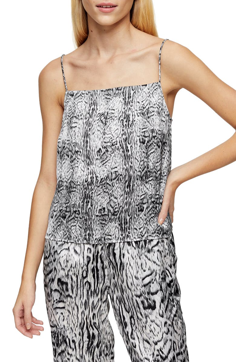 TOPSHOP Blur Animal Print Pajama Camisole, Main, color, 002